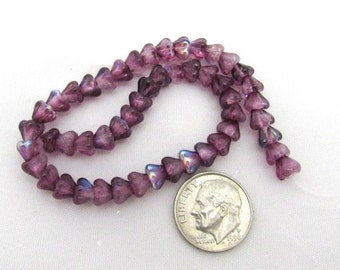 1 Strand Czech Glass Baby Bell Flowers 4/6mm - Coated Violet AB (B13)