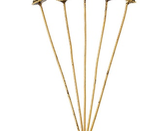 25 Antique Gold 3D Bali Style Head Pins 52mm (B8)