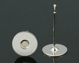 100 Stainless Steel and Brass Earstud Earring Components (B5f)