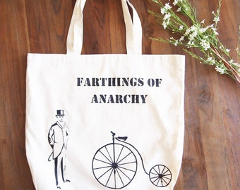 Hand painted tote bag - Penny Farthing Bike - library bag - book bag - retro - bike bag - vintage bike bag - shopping bag - eco bag