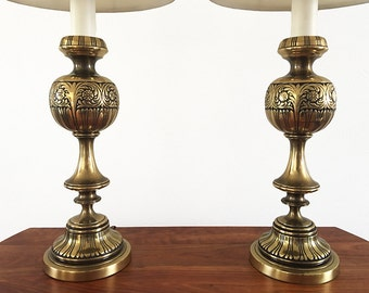 Hollywood Regency Brass Lamps – Pair