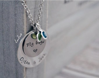 Personalized sons name baby necklace - My boys Hand stamped Stainless Steel jewelry - Lulu Stamped personalized gifts for mom / friend