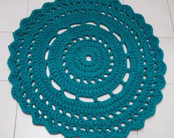 Turquoise Crocheted Doily Rug/ Accent rug 75cm - ready to ship