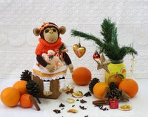 Monkey toy,Stuffed monkey,Soft brown toy,Textile doll monkey toy,Baby gift, Friendly sweety handmade doll,Decor interior,Decorstive monkey
