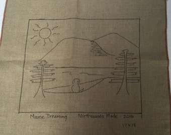 Maine Dreaming - Primitive Linen Rug Hooking Pattern