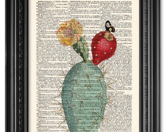 Cactus and butterfly, Dictionary art print, Kitchen decor, Vintage book art print, upcycled dictionary page, Home Wall Decor, Gift [ART 081]