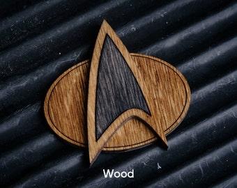 Wooden Star Trek Communicator style Badge - The next Generation