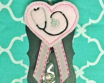 Heart stethoscope badge holder great for nurses or teachers!