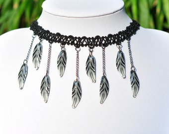 Polymer Clay Gothic Lace Choker Necklace, Feather Choker, Black Lace Choker Boho, Black Lace Necklace, Bohemian Choker Necklace Boho Chocker