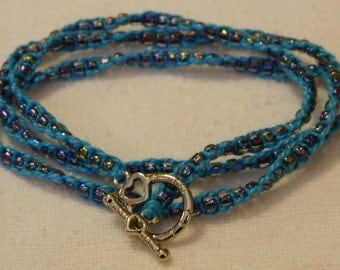 Blue Twisted Wrap Bracelet