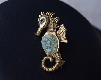 Vintage Jadeite Seahorse Brooch