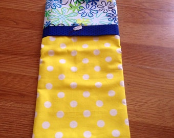 Yellow and blue pillow case, floral, yellow polka dot, hand made, bedding