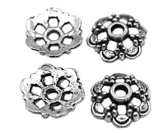 15 Silver Flower 13mm Bead Caps   Silver Flower Beadcaps, Silver Bead Caps, Flower Beadcaps, 13mm Beadcaps, Middle Hole Beadcaps