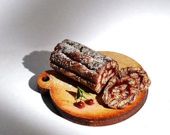 Dollhouse miniature food, realistic food, miniature bakery, cherry pie, marble sponge roll with cherries, scale one inch, Incredible Detail,
