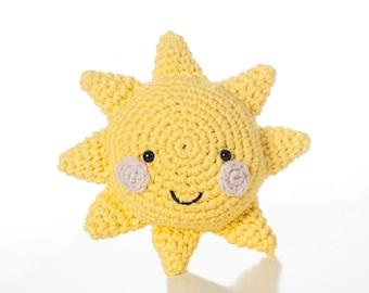 crochet Baby Rattle Sun, yellow, cotton toy, handmade, baby birth present, newborn baby toy, baby shower