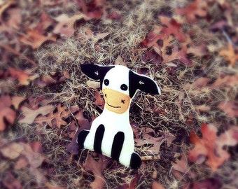 Handmade Cow felt toy, cow softie, cow doll- Moo Moo Cow