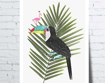 Poster Toucan with a pink Flamingo on its beak on a palm leaf, wall art, picture