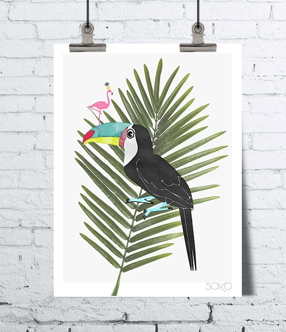 affiche toucan avec un flamant rose sur son bec pos sur une. Black Bedroom Furniture Sets. Home Design Ideas