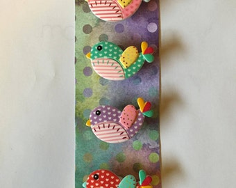 Polka Dot Bird Magnets (Set of 4)