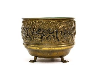 Brass Repousse Cache Pot Made in England