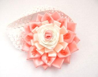 Kanzashi headband. Crochet elastic headband.Headband with flower.Peach and white