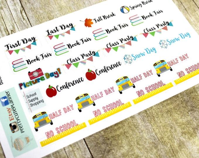 Back to School Planner Stickers - Planner Stickers - Happy Planner - Day Designer - Functional stickers - Fits Erin Condren - School Days