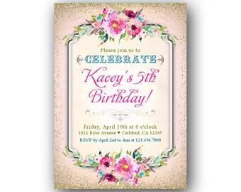 Girls Birthday Invitations, Children's Birthday Party Invitations, Shabby Chic Party Invites, Kids Birthday Party Invitations, Printable