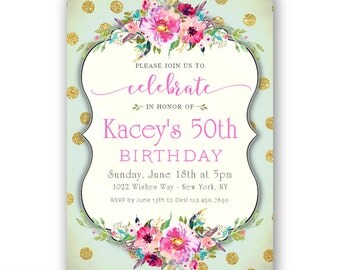 Surprise 50th Birthday Invitation / Mint and Gold Birthday Invitations for Women / 50 and fabulous / Birthday Dinner / Surprise Party