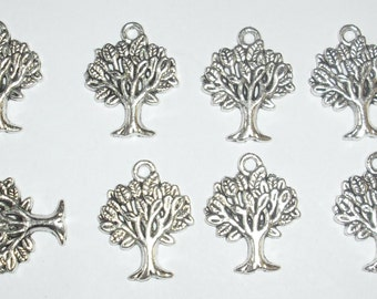 10 x Tree Charms *22mm*Tibetan Silver*et*