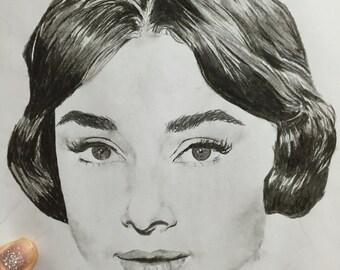 Print: Audrey Hepburn Hand Drawn Illustration - 8x10