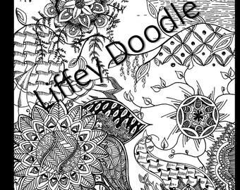 Hand drawn Mandala Doodle - Adult Coloring Page