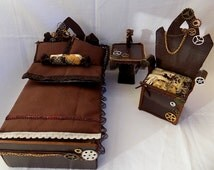 Steampunk vintage bedroom - Doll furniture pro MH,EAH,Barbie and other dolls