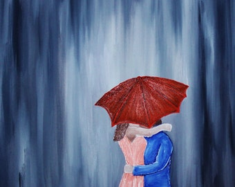 Shelter- in colour, Oil on Canvas Painting, Grey background with couple embracing under umbrella