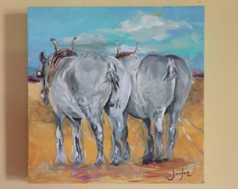 Horse painting, Horse Pull, working draft horses, original acrylic painting on canvas
