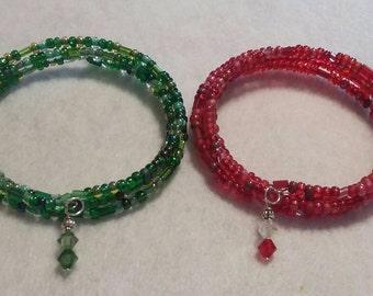 Multiple memory wire Czech glass bead wrap bracelet