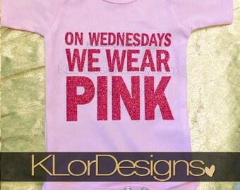 Mean girls onesie, Baby girl onesie, On Wednesdays We Wear PINK Girl onesie, baby shower gift