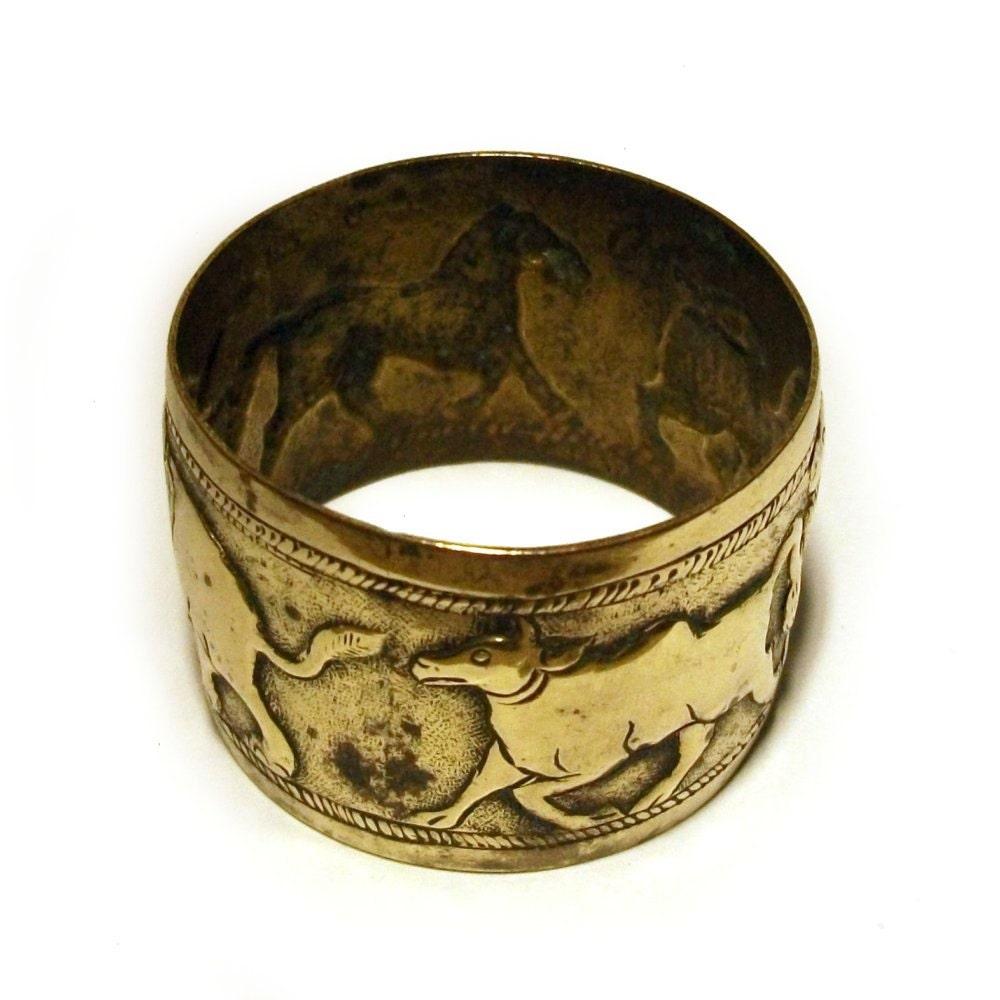 antique brass napkin ring primitive animals ethnic elephant