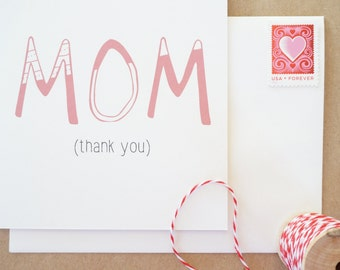 Funny Mother's Day Card, Thank You Mom, Illustration, 100% Recycled Paper