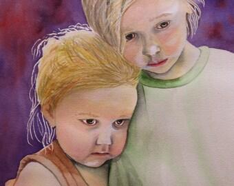Original Watercolor Sisters Closeness Poignant