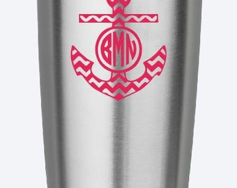Cute Initials Monogram Chevron Anchor Vinyl Decal - Yeti Decal- Iphone Decal- Ipad Decal - Notebook decal - Your color choice
