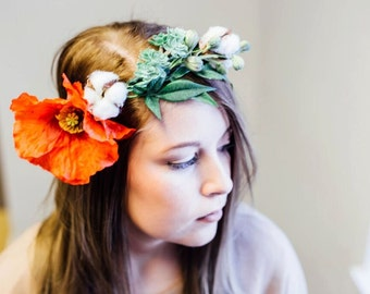 Poppy and Cotton Boll Flower Crown