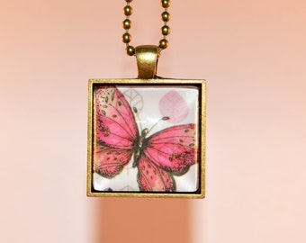 Red Butterfly on Leaves Necklace