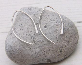 Wishbone Earrings, Small Arc Earrings, Open Hoop Earrings, Open Hoops, Half Hoops, Sterling Silver Hoops, Small Open Hoops, Line Earrings