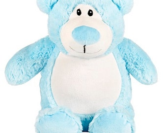 Personalised Blue Cubbie Bear, Stuffie Bear Personalised Gift, Birth, Christening, Any Occasion, Any Name/Message