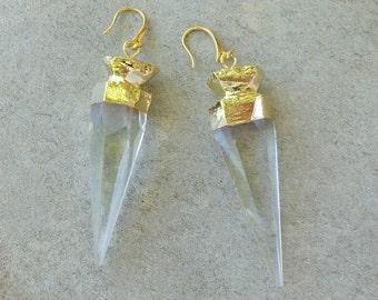 Bevard Giant Crystal Earrings/Faceted Crystal Earrings/Long Dangle Earrings/Urban Jewelry