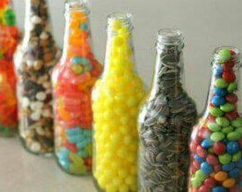 Vintage soda bottles filled with candy