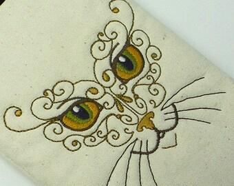Mystical Cat Pouch, E-reader pouch, Kindle pouch, Makeup pouch, Paperback pouch, Nook pouch, Gadget pouch