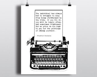 Friedrich Nietzsche Individuality Quote, Vintage Typewriter Illustration, Literary Art Print, Instant Download Quote, 8x10 Printable Art