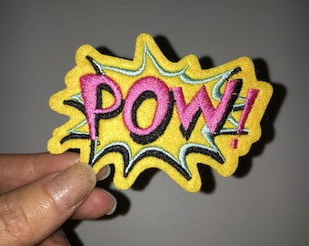 pow patch embroidered patch iron on patch sew on patch