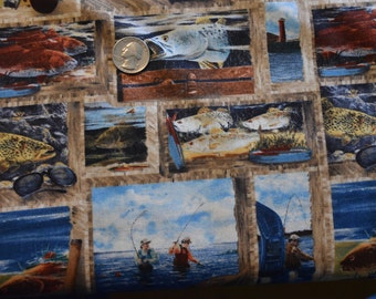 "WILMINGTON FABRIC, ""Reel Em In"", Collage, 100% Cotton"